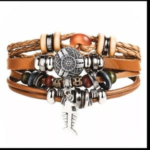 Mixed Wrap Stackable Leather Bracelet | Fish